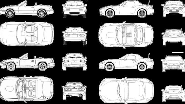 ロードスターのデザインで「大きさ」を比較する